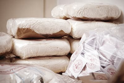 Packages of drugs seized by police