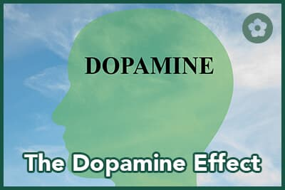 Render illustration of Dopamine title on head silhouette with cloudy sky as a background
